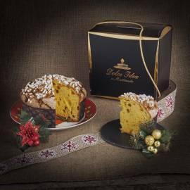 Panettone artigianale mandorle e canditi in elegante confezione regalo
