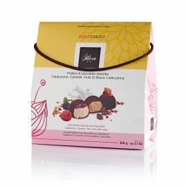 Dolcenero - Praline di cioccolato assortite ai Frutti di Bosco, Caramello, Cappuccino e Latte Panna - Gr 500